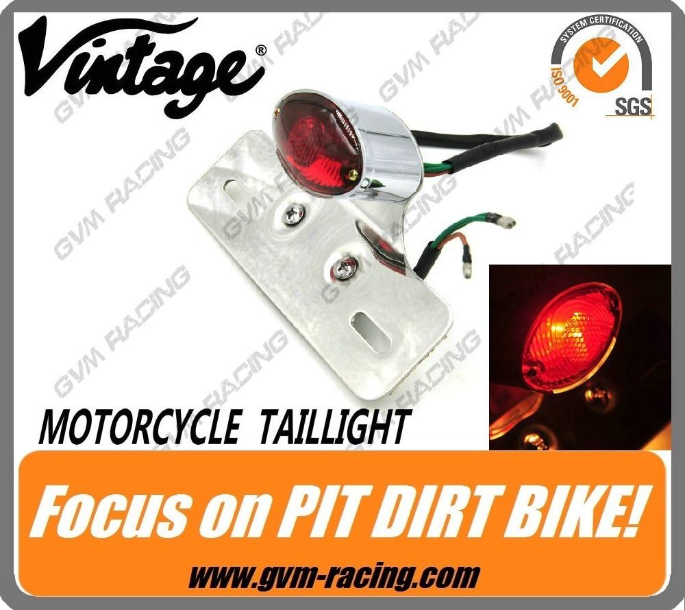 Vintage Custom Motorcycle Cateye Rear Tail Light Brake Light License Plate Light for Suzuki CAFE ...