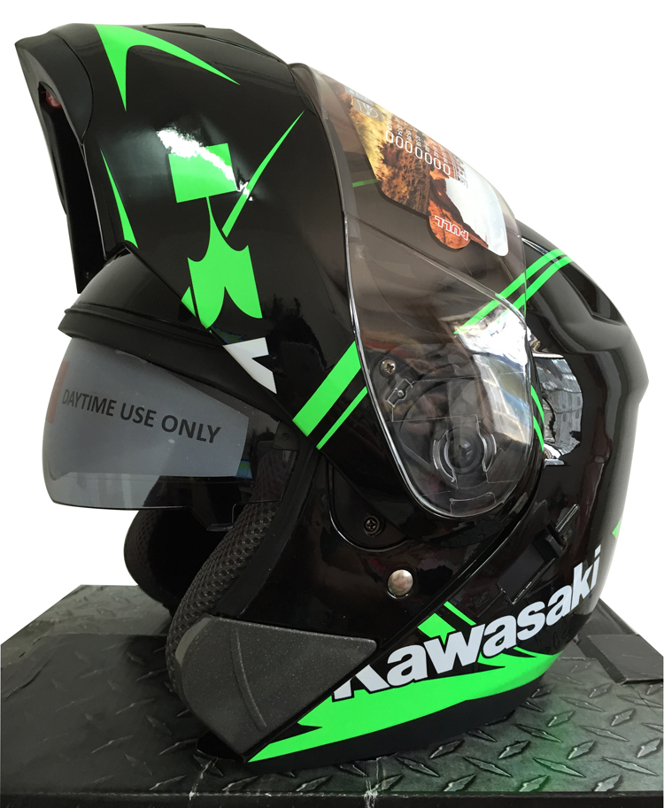 Kawasaki Double Lens Modualr Motorcycle Helmet Flip Up Full Face helmet Dual Visors Racing Moto Casque Capacete Casco Helmets 2017 new knight protection gxt flip up motorcycle helmet g902 undrape face motorbike helmets made of abs and anti fogging lens