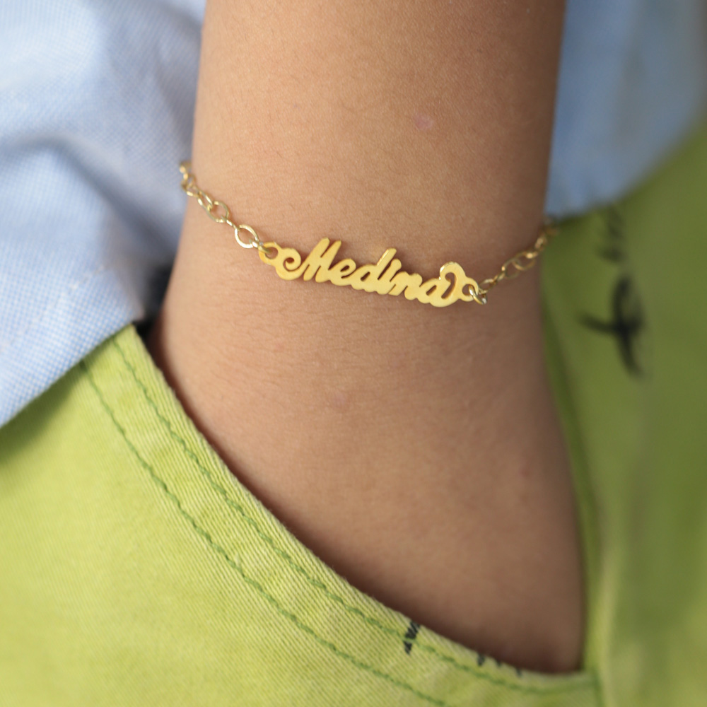 Us 25 99 925 Silver Baby Bracelet With Name Customized Carrie Children Nameplate Kids Personalized Jewelry Gift In Charm