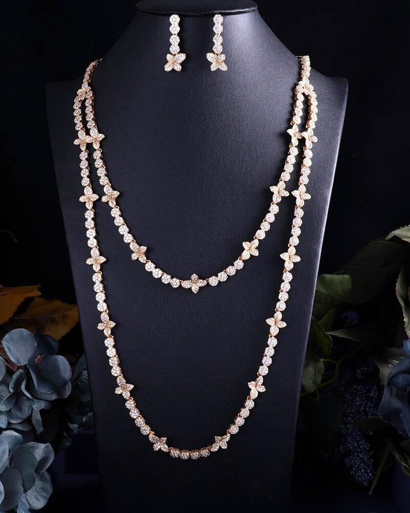 Accking De Luxe pleine Fleur de Zircon ensemble de bijoux de femme collier et boucles d'oreilles long gland partie cadeau accessoire