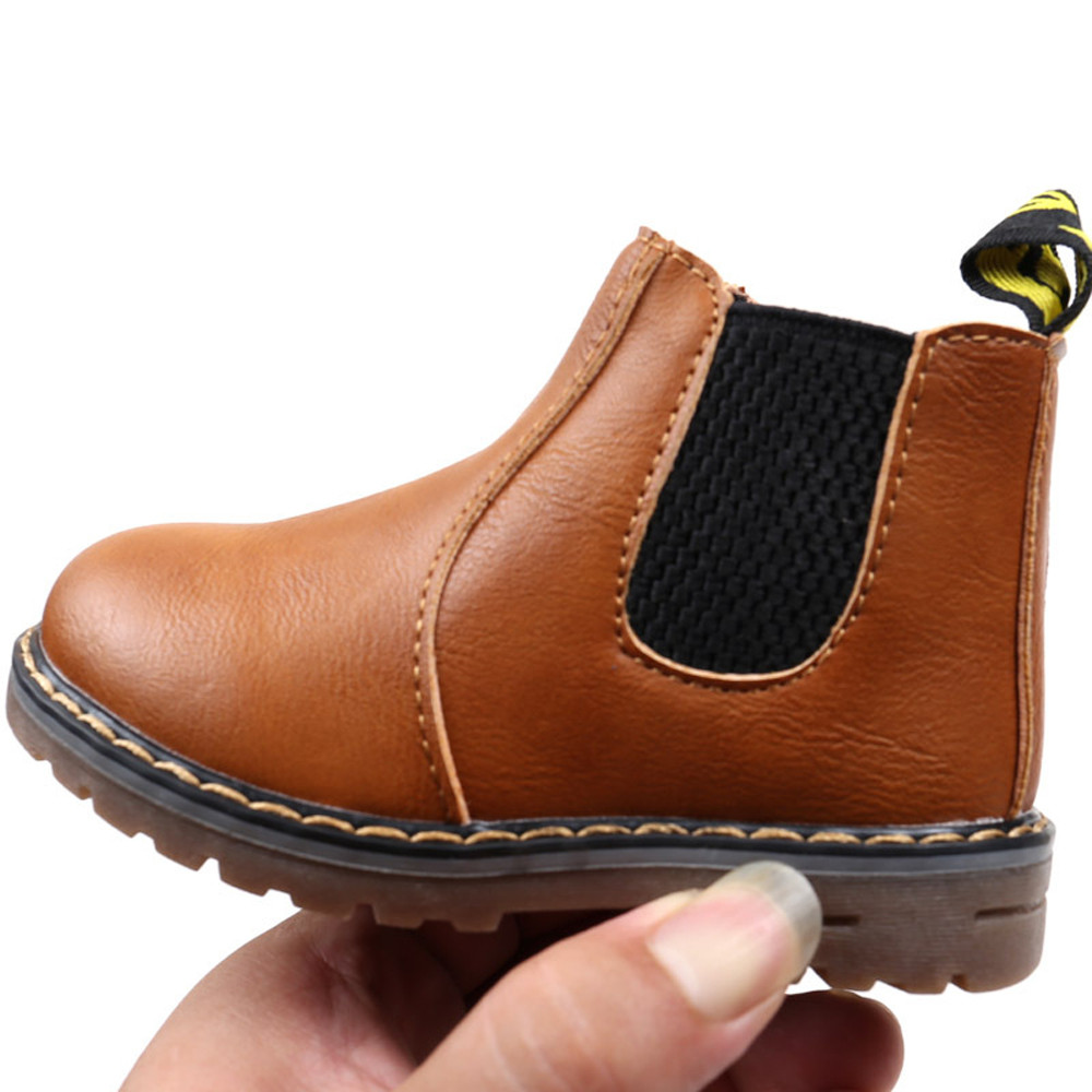 Anti-Slip Design Children Fashion Boys Girls Martin Sneaker Boots Kids Baby Casual Shoes KIDS Winter Pu Leather Boots