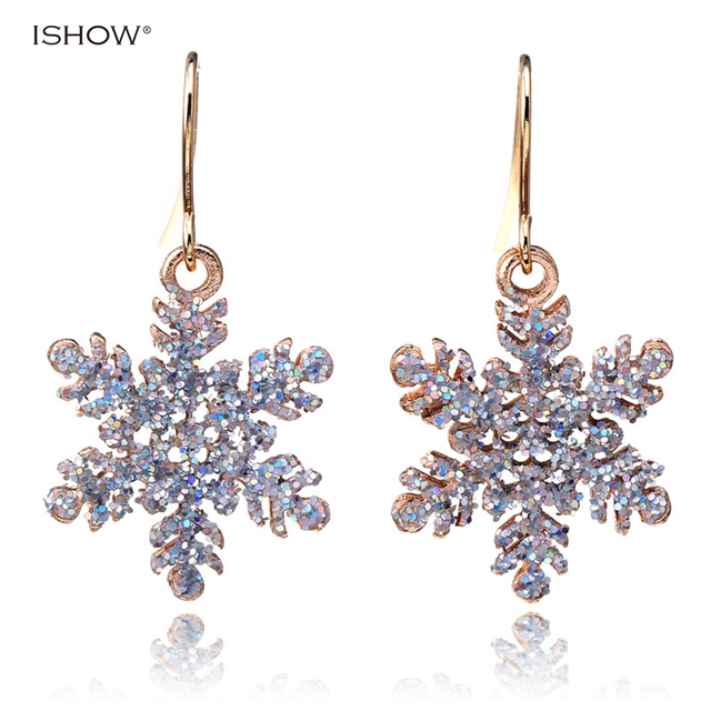 Elegant Exquisite Hollowed Snowflake earrings for christmas oorbellen flower earrings boucle femme orecchini jewelry accessories