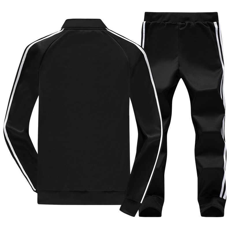 Для мужчин спортивные костюм Зима комплекты дорожек куртка + брюки тренировочный 2 шт. Спортивная повседневное спортивный костюм на молнии мужская одежда 2019 Новый