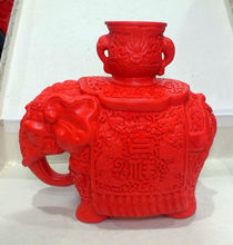 Chinese Carved Flower Red Cinnabar Lacquer Elephants Statue Candlestick