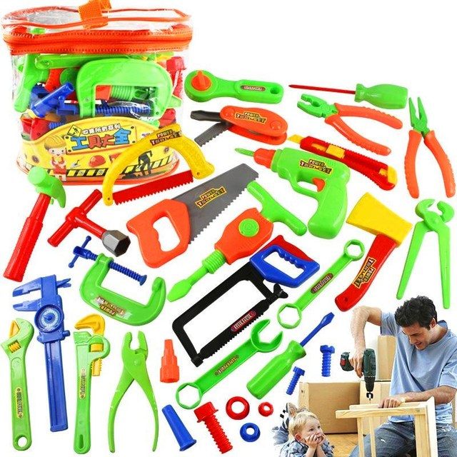 2d4e69ec231f New 34Pcs set Plastic Repair Tools Set Baby Kids Boys Toys Craftsman  Pretend Playing Kits Set Best Funny Gift Toys