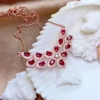 Natural Ruby Gemstone collarbone necklace chain for women