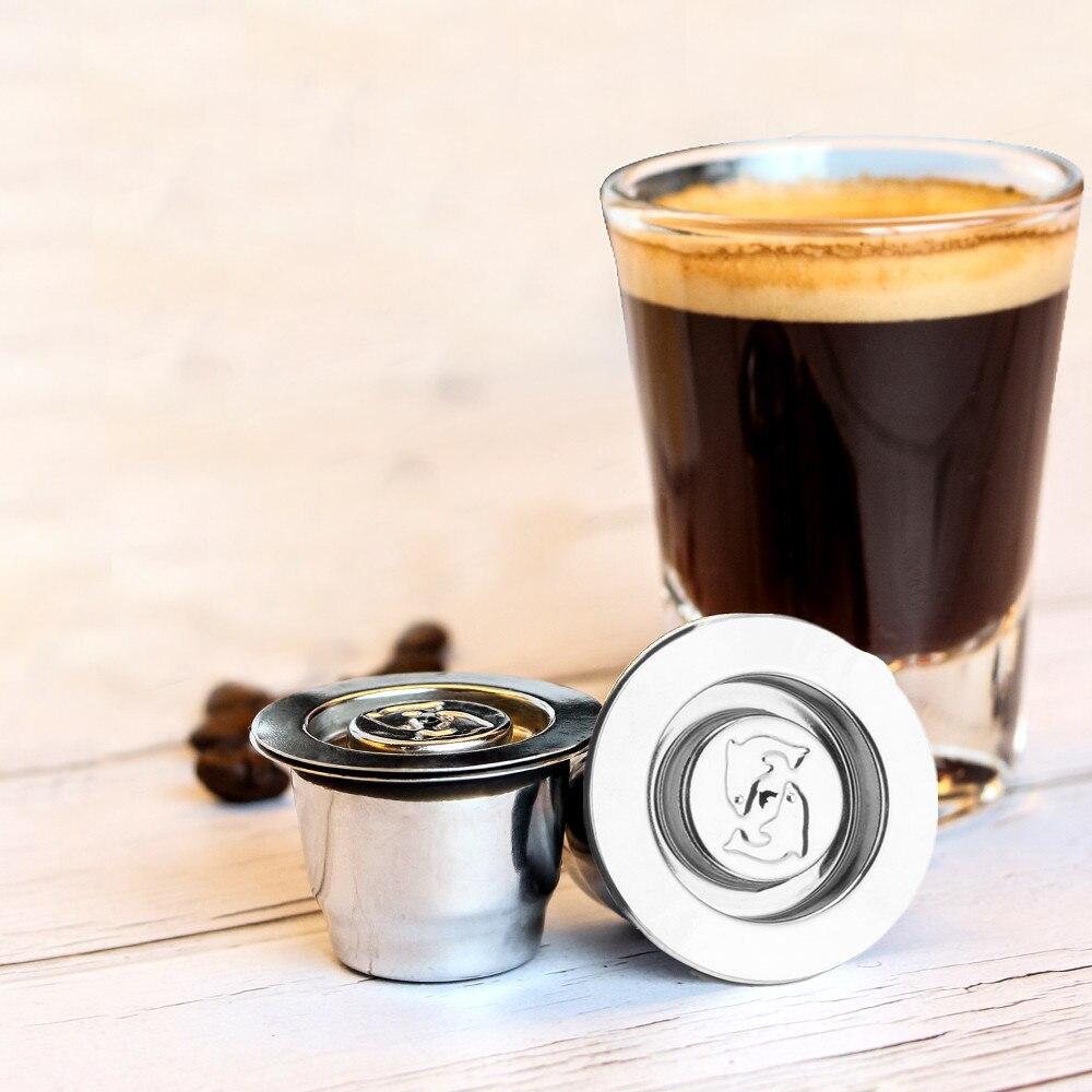De acero inoxidable de Metal 2 en 1 Uso de filtro de café Nespresso reutilizable cápsula recargable 1 cuchara + 1 cepillo