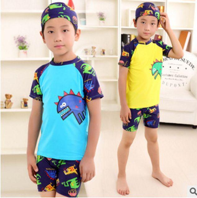 8c8b799320 3PC Baby Boys Cartoon Swimwear Set With Hat Short Sleeve Toddler Swimsuit  Set Kids Swimwear Rashguard Set For Baby Boys