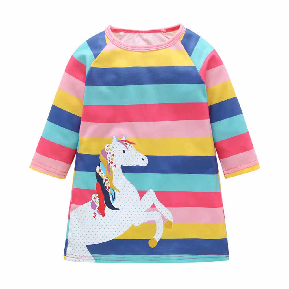 Платья в полоску для девочек от 1 до 7 лет Детское платье с длинными рукавами 2019 г. платье принцессы для маленьких девочек Летняя и осенняя хлопковая детская одежда