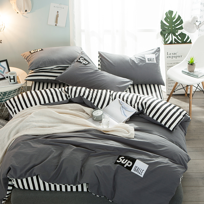 Gray Bedding Set Fresh Style Duvet Cover Soft and Warm Flat Sheet Black and White Stripes Sheet Twin Queen King Size