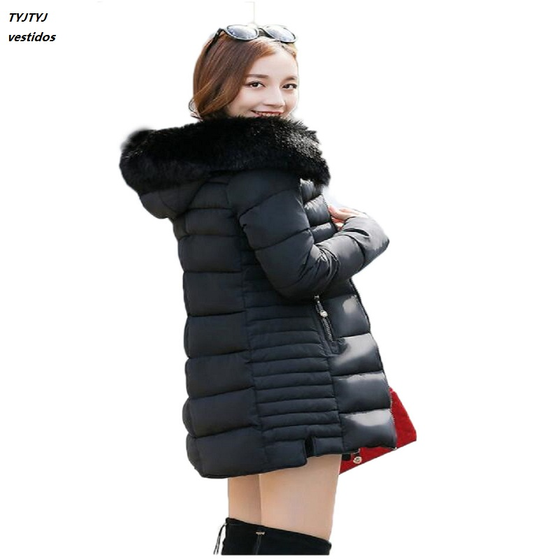 Snow Wear Faux Fur Parka Hood Winter Thick Winter Warm Cotton Women s Coat Manteau Femme