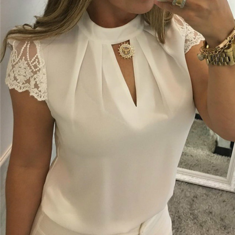Sexy Lace Blouses Women 2019 Hollow Out Sexy Tops Femme Solid Casual Office Shirts Plus Size Blousas V Neck Streetwear Tees