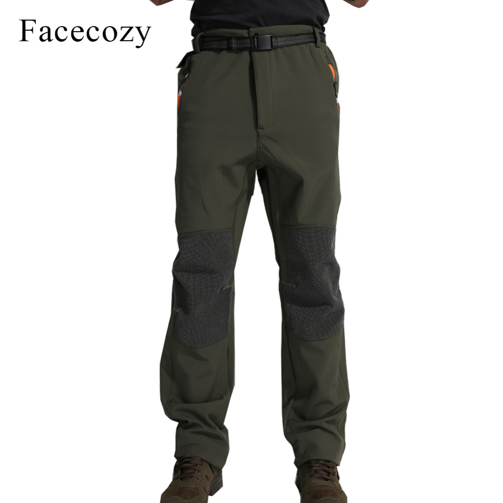 Facecozy Men Outdoor Autumn Fleece Camping Softshell Pants Male Warmth Patchwork Windproof Hiking Trousers facecozy men spring