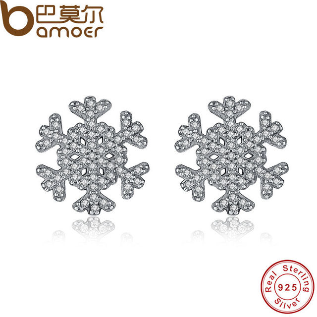 Sterling Silver Unique Snowflake Stud Earrings