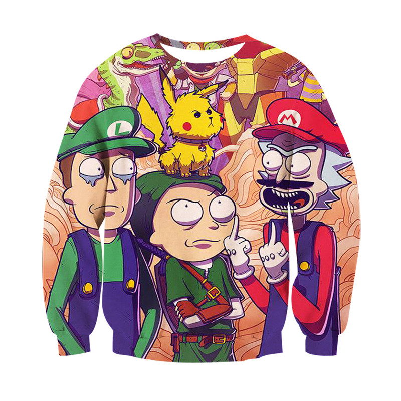 2018 new FASHION MEN WOMEN POP Rick Morty Pikachu Sweat shirts Pullovers Autumn Tracksuit Streetwear Winter Loose Thin Hoody Top