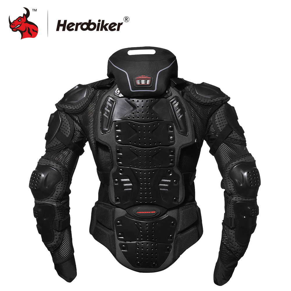 HEROBIKER Motorcycle Armor Off-Road Racing Body Protector Jacket Motocross Motorbike Jacket Motorcycle Jackets + Neck Protector professional motorcycle jacket men s motocross off road racing jacket body armor riding motorcycle pants clothing set black
