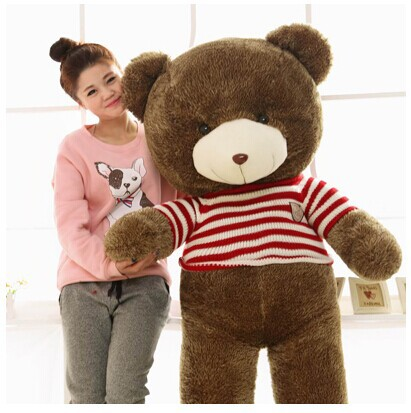 huge teddy bear 160cm red stripes sweater bear plush toy doll throw pillow gift w4103 the huge lovely hippo toy plush doll cartoon hippo doll gift toy about 160cm pink