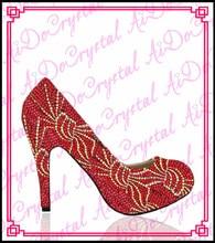 Aidocrystalรูปแบบใหม่สีแดงคริสตัลแมงมุมแบบรอบนิ้วเท้าชุดรองเท้าส้นสูง10เซนติเมตร