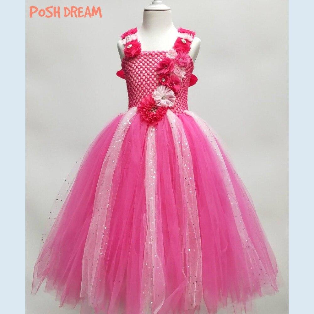 fbdaf020f7 POSH DREAM Hot Pink Flower Girls Party Wedding Dresses Shining Tulle  Fashion Kids Dresses for Girls Clothes Unicorn Girls Dress