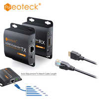 Neoteck HDMI Extender Adapter 1080P Up to 60M HDMI Transmitter Receiver RX/TX Over CAT6 Cable With IR Cable UK EU Power Supply