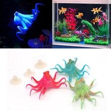 1PC Resin Artificial Fish Tank Decoration Fluorescent Octopus Aquarium With Suction Cup Aquario Ornaments