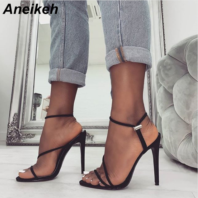 Aneikeh 2019 New Fashion Sandals Ankle Strap Cross-Strap Woman Sandals 12CM High Heels Narrow Band Slip-On Sandals Dress Pumps