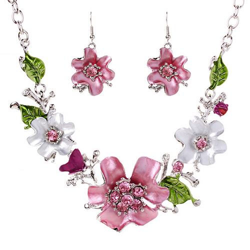 Women's Sweet Flower Leaf Pendant Rhinestone Choker Necklace Hook Earrings Set