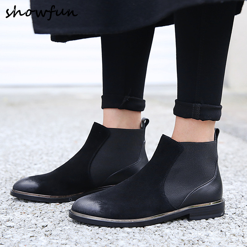 Size 33 40 Women s Genuine Suede Leather Slip on Flats Ankle Boots Brand Design Gradient