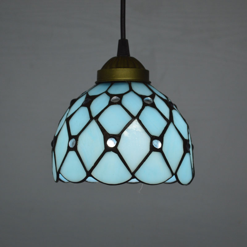 Tiffany Pendant Light Mediterranean Sea Style Lake Blue