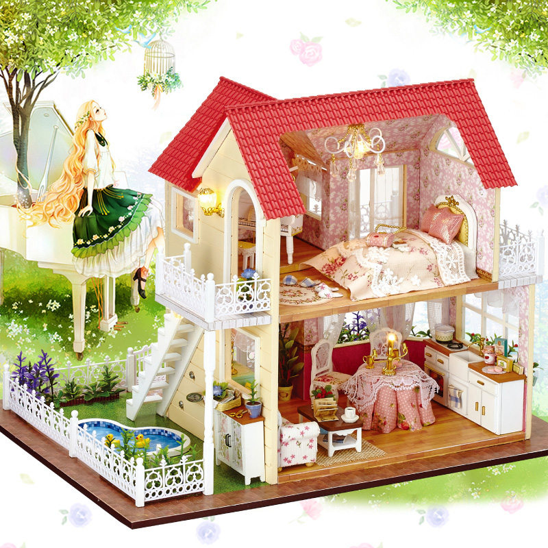 Doll House Miniature DIY Dollhouse With Furnitures Wooden House Pricness Cottage Handmade Toys Children Gift A033 #E a doll s house