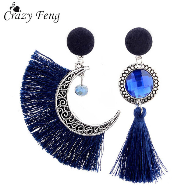 Vintage Fashion Tassel Earrings Dangle Drop Earrings for Women Asymmetric Crystal  Wedding Earring Set Party Jewelry c9c5e2171b75