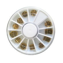 1 Wheel Alloy New Gold Shield Retro Nail Stickers Charm, 3D Metal Art Decoration/Charms/Studs,Nails 3d Jewelry CZP78