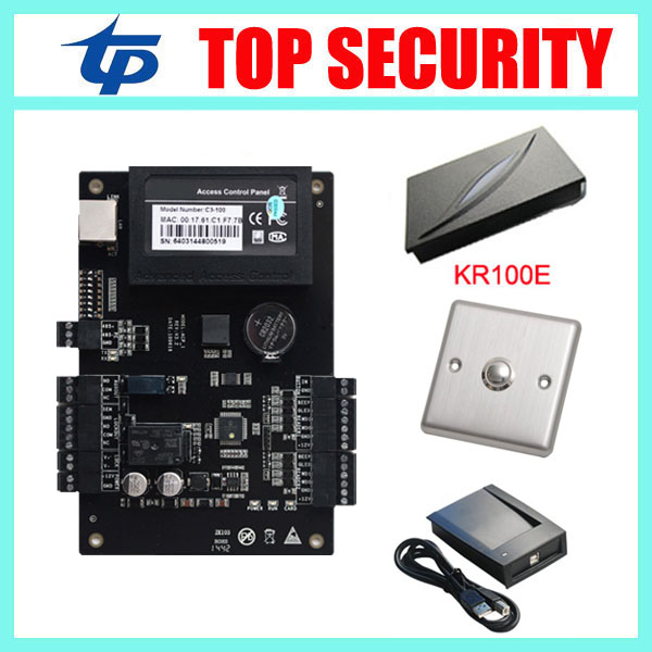 ZK tcp/ip communication C3-100 door access control board access controller with weigand card reader  free shipping tcp ip 2 doors access controller can connect with 4 pcs weigand reader good quality door access control board l02