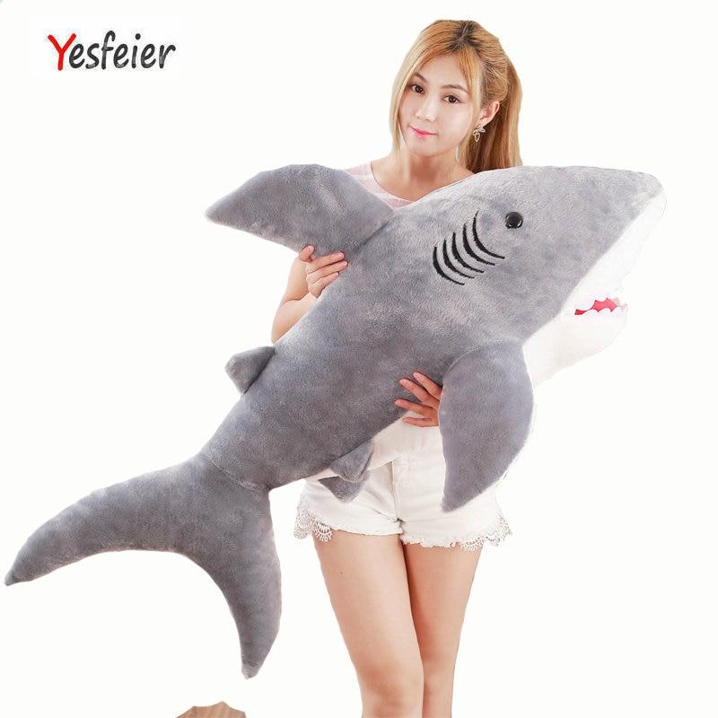 70-130cm Cute large size toy Fish plush toys Gray shark doll stuffed plush animals birthday gift kids baby