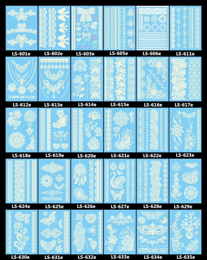 LS-series White Tattoo Lace Flower Waterproof Temporary Tattoos Fake Tattoo Flash Tattoos Henna Paste Tatouage Temporaire Tatu