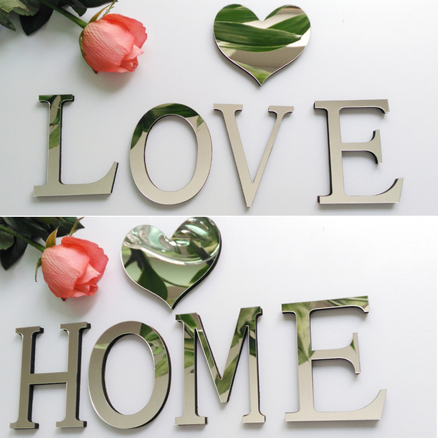 2017 new acrylic sticker love characters letters home decoration english 3d mirror wall stickers alphabet logo free shipping