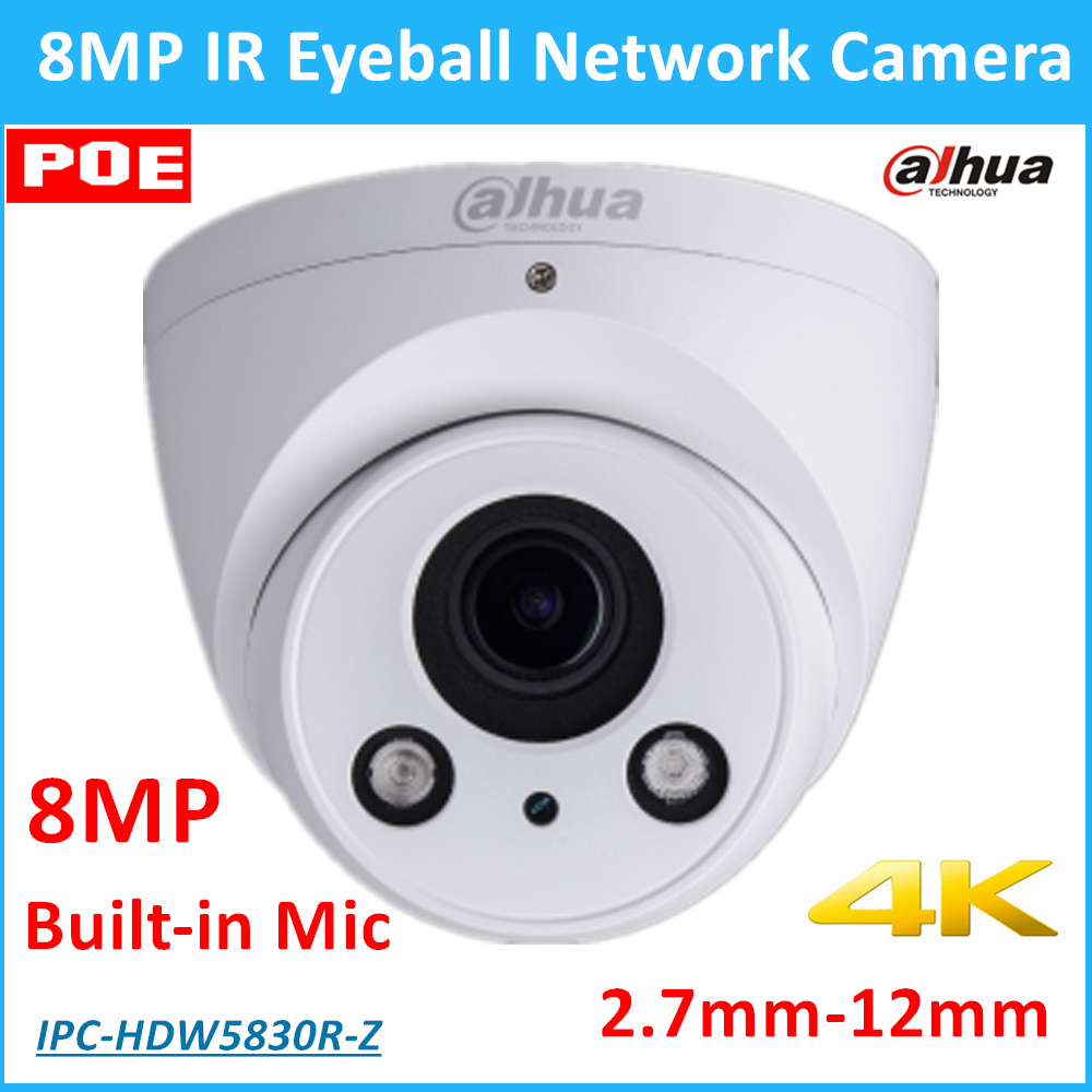 Dahua 8MP English POE Dahua IP Camera IPC-HDW5830R-Z 2.7mm-12mm Motorized lens IR distance 50m 8MP Security Camera Built-in Mic dahua motorized lens 2 7mm to 12mm ip camera ipc hfw2320r zs 3mp poe cctv ip camera ir 30m day night vision security ip camera