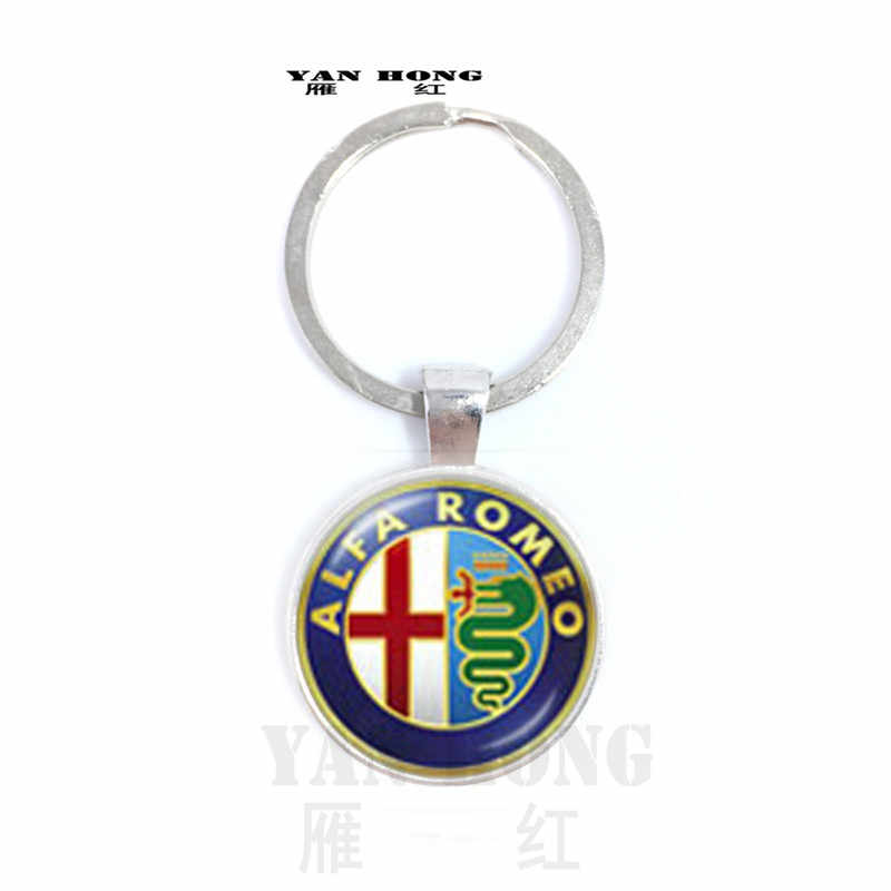 Alfa Romeo logo retro fashion round glass key chain pendant custom Necklace gifts for men and women