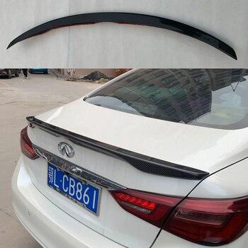Hitam Mobil Nyata Serat Karbon Batang Spoiler Sayap Belakang Spoiler Wing Gaya OE untuk Infiniti Q50 Q50S 2014-2017
