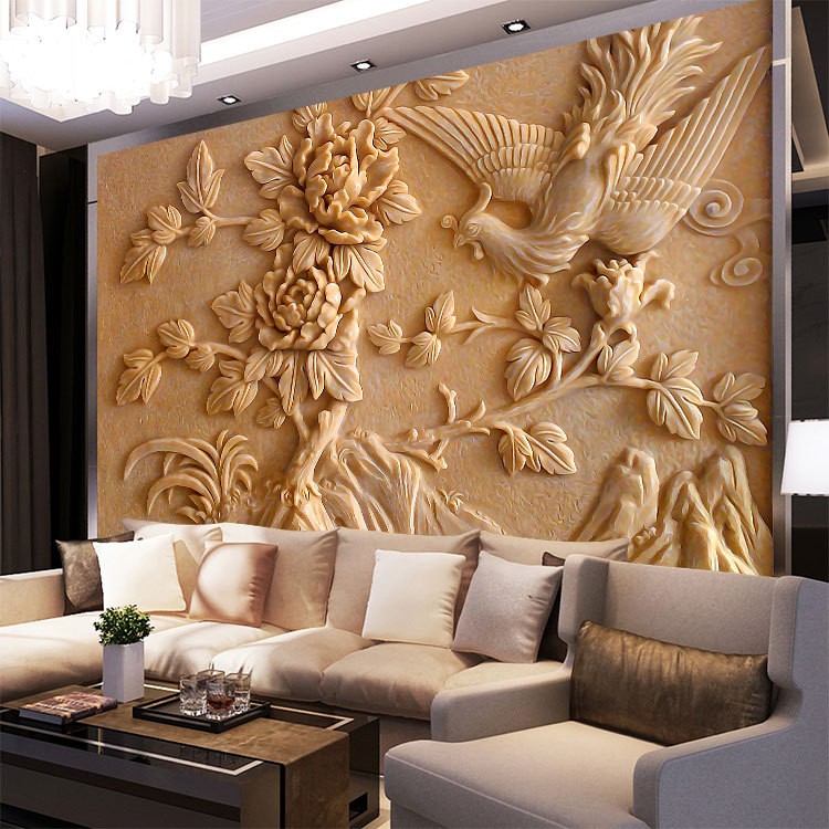 Custom mural painting stereo embossed flower wallpaper for Decorative mural painting