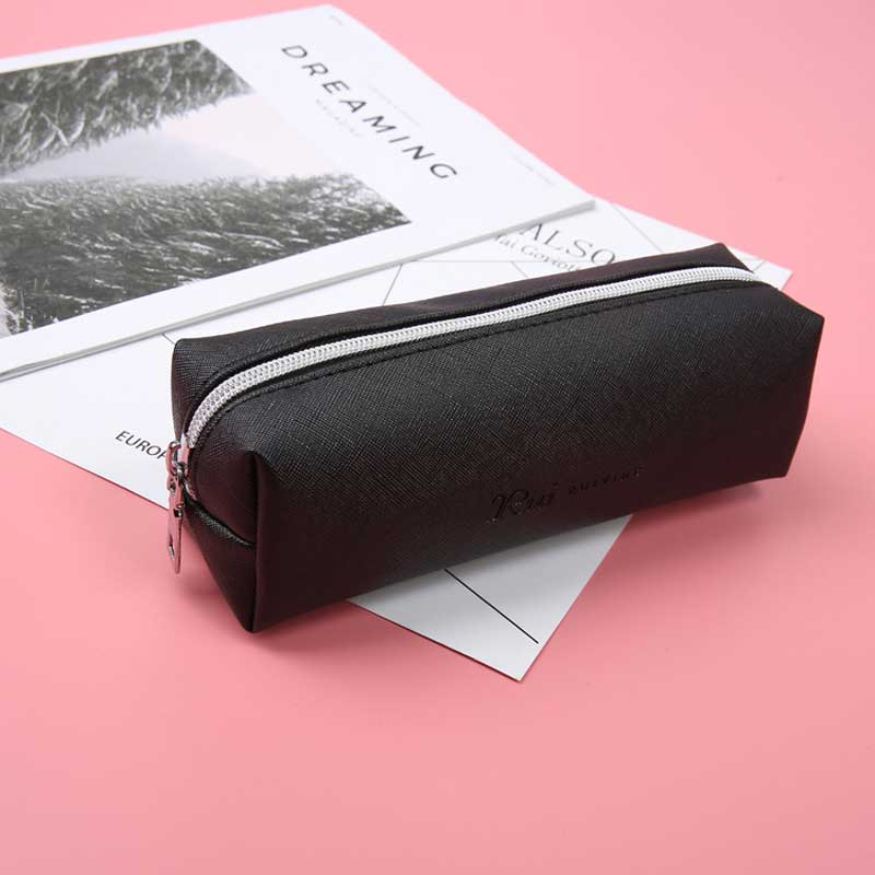 Black Pencil Case For Girls School PU Leather Pencil Case  Big Capacity Pencil Bag Pencilcase School Supplies Stationery Gifts