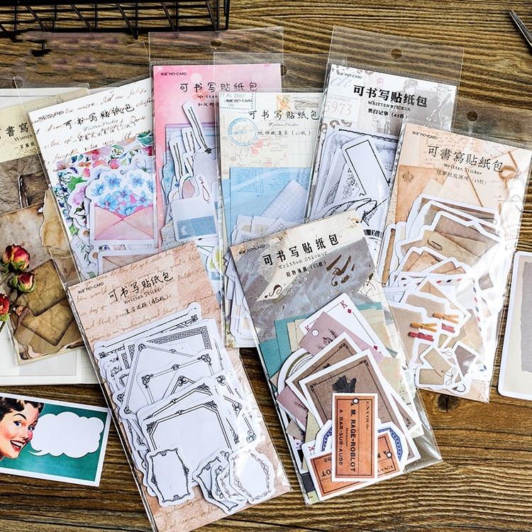 45 Pcs/Pack Ancient Memories Writable Paper Sticker Diy Scrapbooking Diary Planner Decoration Sticker Album Stationery