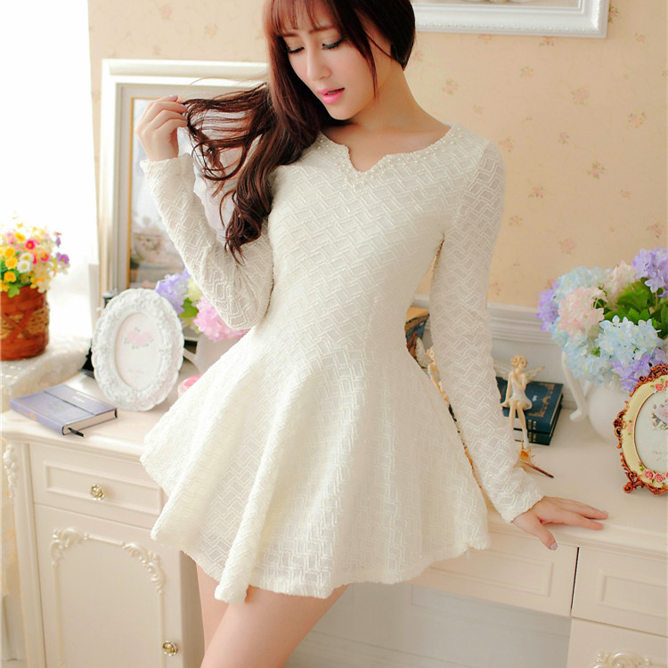 pics for gt cute korean dresses with sleeves
