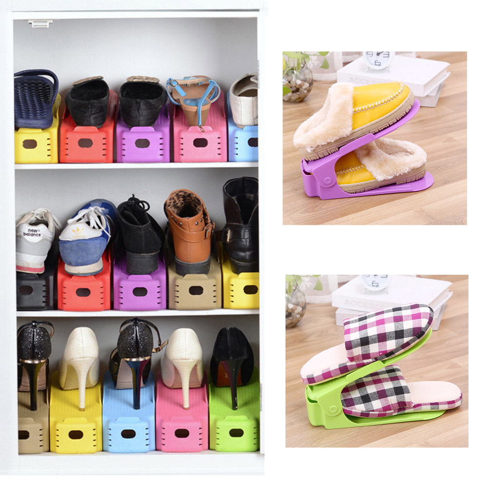 1PC Hot Sale Bathroom Shelves Creative Integrated Double Shoe Thickened Simple Plastic Adjustable Shoes Rack