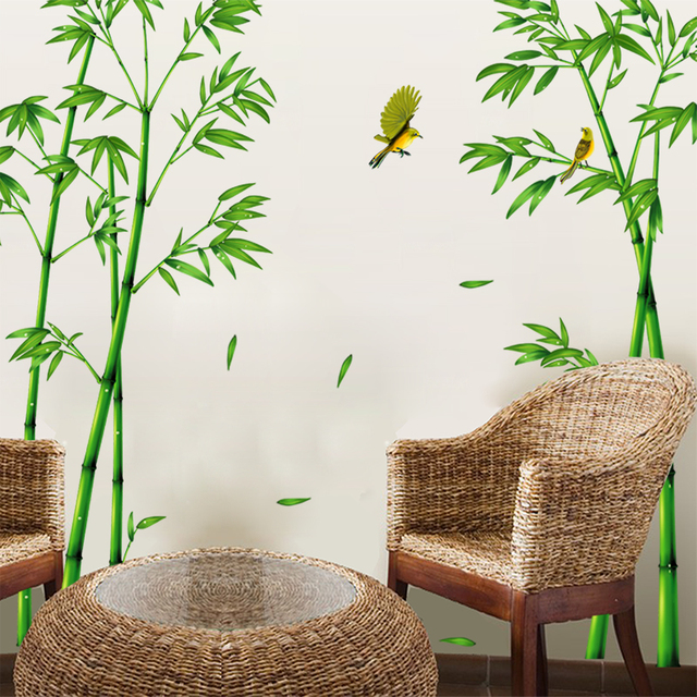 [SHIJUEHEZI] Green Bamboo Forest Wall Stickers Vinyl DIY Plant Wall Art For  Living Room