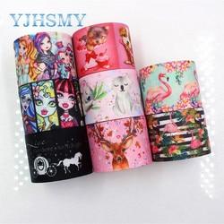 YJHSMY I-181106-149,38mm 5yards bande dessinée animaux rubans transfert thermique imprimé gros-grain, bricolage vêtements faits à la main
