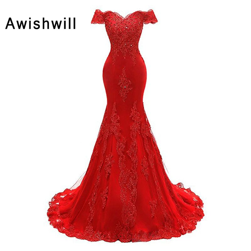 Real Photo Red Prom Dresses Long Off The Shoulder Beaded Appliques Formal Evening Dress Mermaid Party Gown For Women