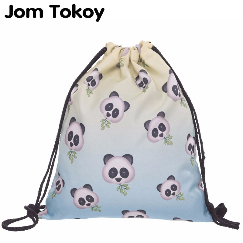 New Fashion Women Drawstring Backpack 3D Printing Panda  Travel Softback Women Mochila Drawstring Bag