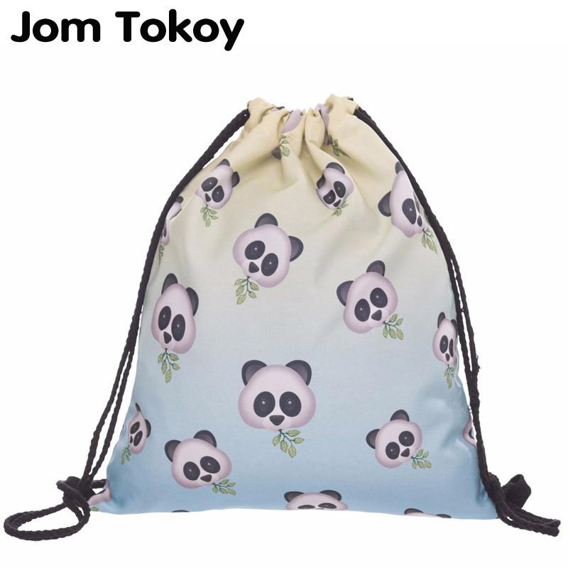 New Fashion Women Drawstring Backpack 3D Printing Panda  Travel Softback Women Mochila Drawstring Bag