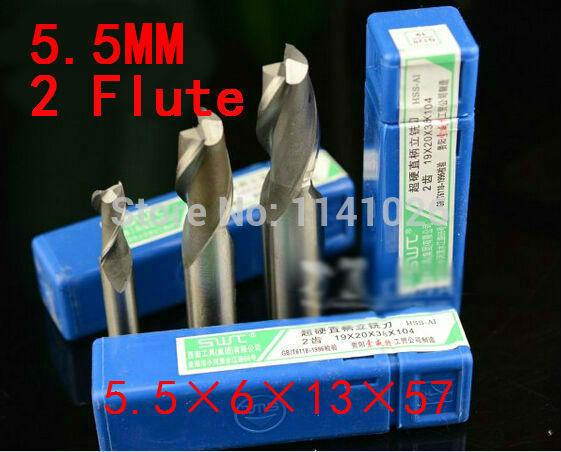 10pcs 5.5mm Two Flute HSS Aluminium End Mill Cutter CNC Bit